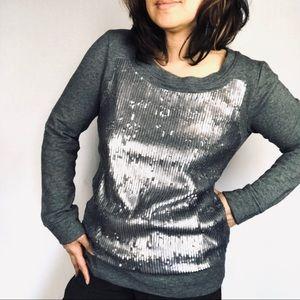 J.Crew Gray sequin sweater top medium